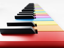 Multi colored piano keys background. 3D illustration Royalty Free Stock Images