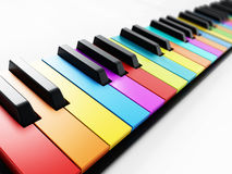 Multi colored piano keys background. 3D illustration Stock Photo