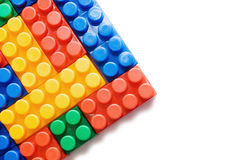 Multi-colored plastic blocks on white Stock Photo