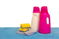 Multi-colored plastic containers for household chemicals, cleani stock images