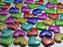 Multi-colored plastic hearts Stock Photo