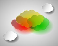 Multi colored plastic and white paper clouds illustration. Vector EPS 10 Stock Photos