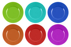 Multi-colored Plates Isolated On White Background Stock Photos