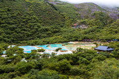 Multi Colored pond in Huanglong National Park, Sichuan, China stock images