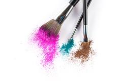 Multi Colored Powder Eyeshadow on a Brush, fashion beauty tool Stock Photos