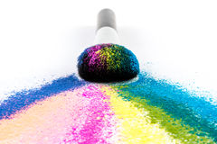 Multi Colored Powder Eyeshadow with Brush, fashion beauty tool Royalty Free Stock Photos