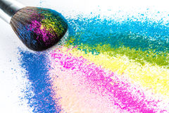 Multi Colored Powder Eyeshadow with Brush, fashion beauty tool Royalty Free Stock Images