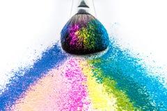 Multi Colored Powder Eyeshadow with Brush, fashion beauty tool Royalty Free Stock Photo