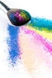 Multi Colored Powder Eyeshadow with Brush, fashion beauty tool Stock Photo