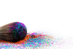 Multi Colored Powder Eyeshadow on a Brush, fashion beauty Stock Images
