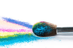 Multi Colored Powder Eyeshadow with Brush, fashion beauty tool Stock Images