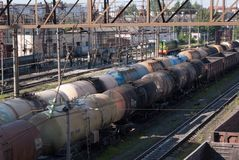 Multi-colored railway tanks Royalty Free Stock Images