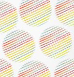 Multi colored rainbow circles. Seamless pattern with abstract geometric shapes. Different ornaments on white background. Compositi. On for textile design, web royalty free stock image