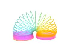 Multi-Colored Rainbow Spring Toy Isolated Royalty Free Stock Images