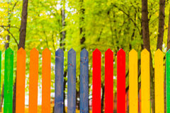 Multi colored rainbow wooden fence in autumn, garden background, soft focus, shallow depth of field Royalty Free Stock Photo