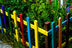 Multi colored rainbow wooden fence in garden Stock Photography