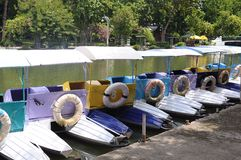 Multi-colored rental pedal boats Royalty Free Stock Photos