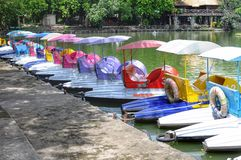 Multi-colored rental pedal boats Royalty Free Stock Photography