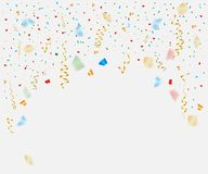 Multi-colored ribbon streamers of tinsel falling on an isolated background. Independence. Carnival fireworks. Christmas. Vector. stock illustration