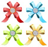 Multi-colored ribbons with diamonds. Vector multicolored ribbons with diamonds Royalty Free Stock Images