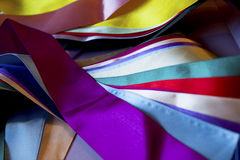 Multi colored ribbons. Mixed ribbons in many colors and shapes Royalty Free Stock Photography