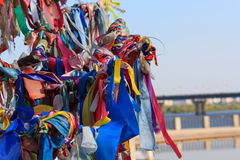 Multi-colored ribbons tied on the tree. Ritual stock image