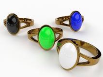 Multi-Colored Ringen voor Vrouwen Royalty-vrije Stock Fotografie