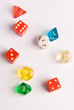 Role Play style dice. Multi-colored role play dice isolated on white Royalty Free Stock Photography