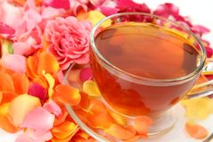 Petals of roses and tea royalty free stock photo