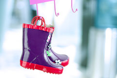Multi-colored  rubber boots for kids Royalty Free Stock Photography