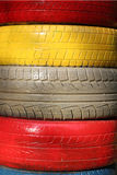 Multi-colored rubber tire, folded stack.  Royalty Free Stock Photography