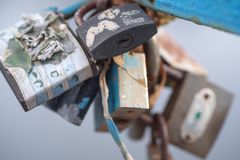 Background. Multi-colored rusty locks, Wedding lock of love. Multi-colored rusty locks, Wedding lock of love stock images