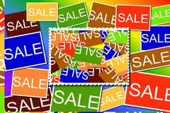 Multi colored Sale signs Stock Photography