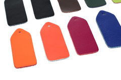 Multi-colored samples of leather Stock Photo