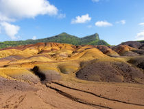 Multi Colored Sand Dunes of Chamarel Stock Image