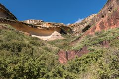 Multi-colored sandstone cliffs at Golden Gate Stock Image