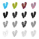 Multi-colored schoenen, strandpantoffels Verschillende soorten pictogrammen van de wipschakelaars de vastgestelde inzameling in b Stock Afbeelding