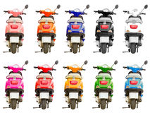 10 multi-colored scooter isolated Royalty Free Stock Photos