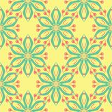 Multi colored seamless floral background. Pink blue green and yellow pattern. For textile and wallpapers Stock Image