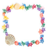 Multi-colored shells. Muilti-colored shells forming a frame Royalty Free Stock Image