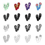 Multi-colored shoes, beach slippers. Different kinds of flip flops set collection icons in cartoon black monochrome. Outline style vector symbol stock Stock Photo
