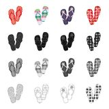 Multi-colored shoes, beach slippers. Different kinds of flip flops set collection icons in cartoon black monochrome. Outline style vector symbol stock Stock Image