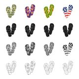 Multi-colored shoes, beach slippers. Different kinds of flip flops set collection icons in cartoon black monochrome. Outline style vector symbol stock Royalty Free Stock Image