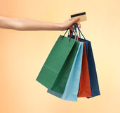 Multi colored shopping bags and credit card Royalty Free Stock Image