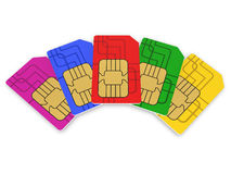 Multi colored SIM cards Stock Photo