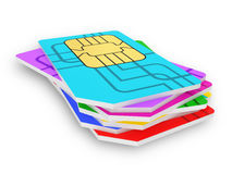 Multi colored SIM cards Stock Images