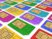 Multi colored SIM cards Royalty Free Stock Photo