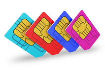 Multi colored SIM cards Royalty Free Stock Photography