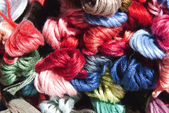 Multi Colored Skeins of Embroidery Cotton Royalty Free Stock Images