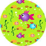 Multi-colored small fishes. Beautiful pattern consisting of different florets royalty free illustration